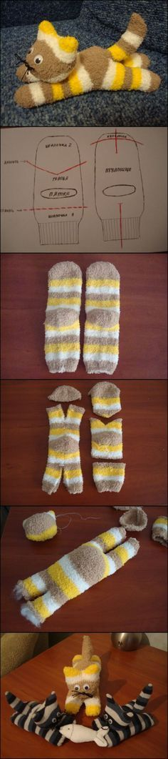 Adorable Sock Kitten Tutorial! I bet any little one would enjoy having and/or making this (depending on age, obviously)! #catsdiyprojects