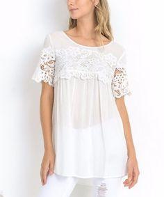 Off-White Lace-Trim Top