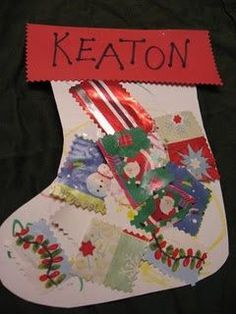 Preschool Christmas craft - use wrapping paper scraps instead of throwing them away!