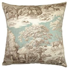 Cotton toile pillow with a woodland scene and down-feather fill. Made in the USA.   Product: PillowConstruction Mater...