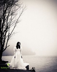 Wedding gown in the fog. Cecil County, Maryland. #katelynthomasphotography