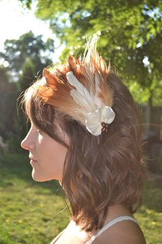 Burnt orange and cream feather fascinator by ClavauxDesigns