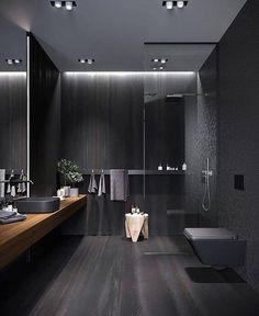 Luxury bathroom design for inspiration and ideas for your bathroom decor. Marble and natural stone flooring and walk-in shower. Usage of white and black interior designs. Dark Bathrooms, Amazing Bathrooms, Bathroom Black, Luxurious Bathrooms, Black Bath, Master Bathroom, Black Shower, Master Baths, Glamorous Bathroom