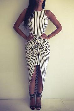 https://fr.pinterest.com/MyDailyOutfits/ Vertical Stripes Asymmtrical Racerback Maxi Dress