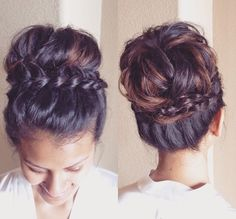 Sock Bun-Inspired Messy Braided Updo - 101 Braid Ideas That Will Save Your Bad Hair Day (Photos) Pretty Hairstyles, Braided Hairstyles, Wedding Hairstyles, Braided Updo, Casual Hairstyles, Summer Hairstyles, Bridal Hairstyle, Updo Hairstyle, Indian Hairstyles