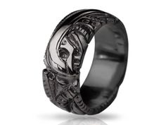 BLACK  - silver biomechanical ring, gothic silver ring, Anatomical ring / Steampunk / Biomechanics /  Men ring/ Men gift (1)