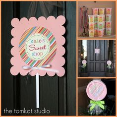 The TomKat Studio: Birthday Parties: Kate's Yummy Lollipop Party! Lollipop Birthday, Lollipop Party, Candy Party, Candy Theme, 10th Birthday Parties, Birthday Party Themes, Birthday Bash, Birthday Ideas, Birthday Yard Signs
