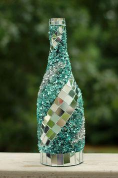 Mosaic wine bottle Wine bottle decor Frozen by VineyardMosaics