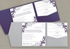 6x6 Pocket Wedding Invitation Template Set - DOWNLOAD Instantly - EDITABLE TEXT - Exquisite Vines (Eggplant