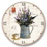 Vintage MDF Wall Clock with Flower Designs
