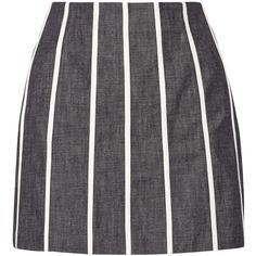 Victoria Beckham Denim Striped denim mini skirt (1.537.605 IDR) ❤ liked on Polyvore featuring skirts, mini skirts, dark denim, short denim skirts, zipper mini skirt, stripe skirt, short skirts and denim miniskirt