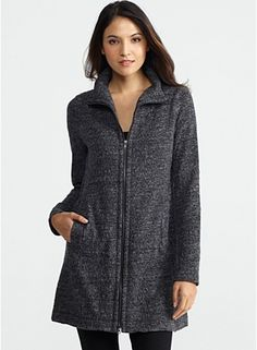 Funnel Neck Jacket with 2-Way Zip in Terrazzo Stretch Ripple  Eileen Fish $288 cotton poly nylon spandex italian fabric speckled yarn stretchy jacquard knit