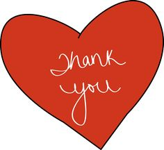 """thank you clip art   Red Thank You Heart - red heart with the words """"Thank You"""" on it."""