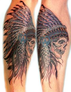 Native American skull with headdress tattoo. Would love without the LA emblem and with brown and white feathers with black tips.