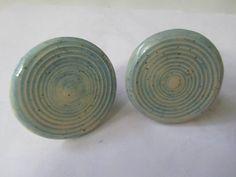 Door Handles - Round Aqua Blue Ceramic Handles - Drawer knobs/pulls
