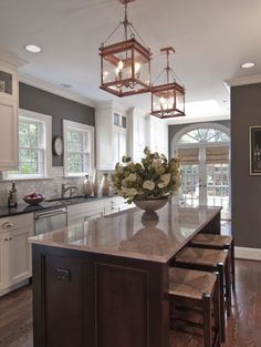 Cool Look- Kitchen Like the wall color, back splash tile and hardware #kitchen #home #decor