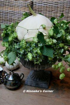 gietijzeren  vaas met witte pompoen en hop