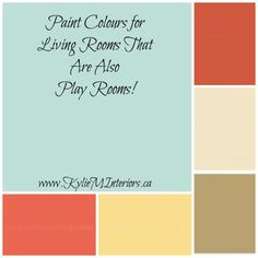 Top 5 Paint Colours For a Playroom / Family Room (Benjamin Moore) - Kylie M Interiors. I like this for the living room because I feel like it could go beachy with coral and driftwood accent.
