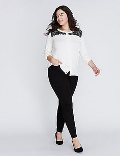 Lace makes everything better (including this crew-neck cardigan). Button-front closure. lanebryant.com