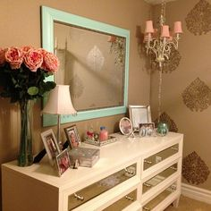"""Brittany completes the look with Z Gallerie Concerto 6 Drawer Dresser. """"My pink and aqua accented girlie room."""""""