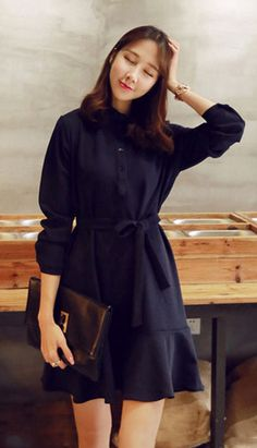 Fashiontroy Street style long sleeves khaki red navy blue belted creped cotton blend mini dress