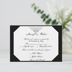 Shop White Black Silver Damask Wedding Response Card created by NoteableExpressions. Wedding Response Cards, Wedding Cards, Bright White Background, Damask Wedding, Tent Cards, Save The Date Cards, Wedding Stationery, Thank You Cards, Diy Gifts