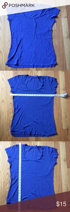 Blue cap sleeve tee-thin wonderfully soft fabric! Blue cap sleeve tee in thin, wonderfully soft fabric. Purchased at Nordstrom. LPaix (?) brand. Although tee is marked XL, please refer to the measurements in the photos. Super color! Nordstrom Tops Tees - Short Sleeve