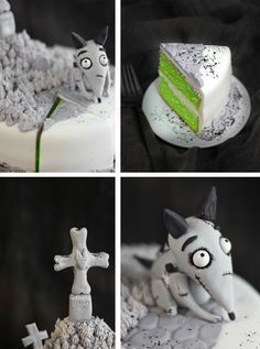 "Frankenweenie ""Sparky"" Cake, there is a photo step-by-step tutorial on sculpting the little Sparky dog"