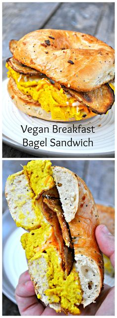 """Make the ultimate breakfast sandwich with a vegan omelette, potato """"bacon,"""" and vegan cheese on a super toasty bagel!"""