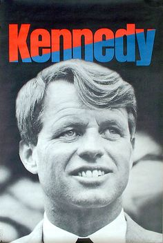 "Large Kennedy for President poster. Bold classic photo of the young Presidential candidate with the iconic one word description KENNEDY at the top. From his 1968 presidential campaign. Produced by the ""Kennedy For President' committee."