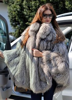 NEW Platinum Saga FOX FUR Poncho Class Jacket Coat Sable Mink Chinchilla Silver | eBay