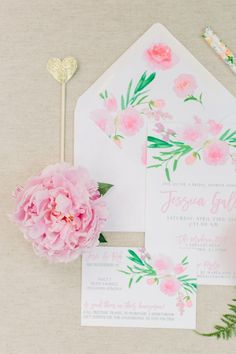 blush pink spring wedding invitations/ rustic chic spring wedding invitations