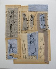 """Neat mixed media from UK artist Cathy Cullis. title: """"the tiny tick tock of the busy premonition"""""""