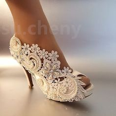 """3""""4"""" heel satin white ivory lace pearls open toe Wedding shoes bride size 5-9.5"""