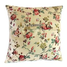 Retro rosebud floral cushion cover with covered button fastening - Welcome to Personal Space Interiors - the home of fabulous handmade vintage, retro and contemporary cushions, curtains and accessories