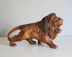 Wood Lion Statue Vintage African Art Carved Wood by CalloohCallay
