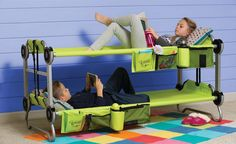 If you're looking for a cool solution for sleepovers or to use when camping or traveling, check out these portable bunk beds. I came across this as I was searching for kids camping ideas, and they jumped out with their rave reviews. It's a pretty cool concept. The modular beds can be