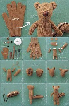 Cómo convertir un guante en un oso