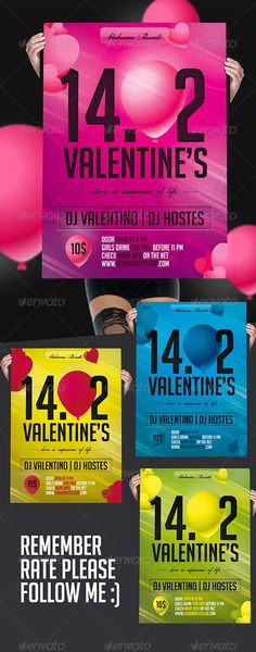 - Valentine¡¯s Day flyer template for a cool party events. - You can modify everything very easy and quick. - change color is very easy. - The PSD files is setup at 210x297mm ( 2480x3508 px !! ) with bleeds 2mm   2mm - CMYK 300DPI- Print Ready. - This pack contains 1 psd ,1 help file - 4 color combination in group Fonts : BigNoodleTitling http://w