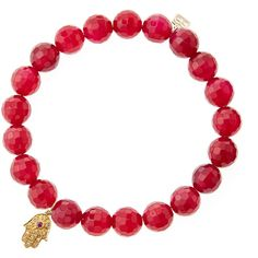 Sydney Evan Red Agate Beaded Bracelet with 14k Gold Hamsa Charm (Made... ($470) ❤ liked on Polyvore featuring jewelry, bracelets, jewelry bracelets chain, red, red gold jewelry, hamsa charm, red bangles, 14k charm and gold jewelry