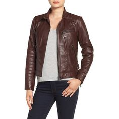 Women's Bernardo Quilted Leather Moto Jacket ($240) ❤ liked on Polyvore featuring outerwear, jackets, ruby wine, quilted motorcycle jacket, brown biker jacket, quilted leather jacket, brown jacket and motorcycle jackets