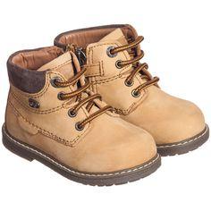 Boys Mustard Nubuck Leather Ankle Boots, Mayoral, Boy