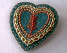 Felt Heart Brooch or Pin - Hand Embroidery on Muted Teal - Uncommon Colors