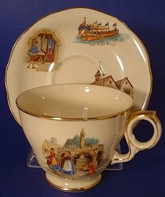 This is a Royal Winton, Grimwades of England cup and saucer called Old English Markets with a great collection of scenes from Cheddar in Somerset. The cup and saucer was made in the 1950s.