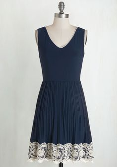 Personal Essayist Dress in Navy - Blue, Lace, Pleats, Trim, Party, A-line, Sleeveless, Good, Knit, Lace, Solid, V Neck, Full-Size Run, Mid-length, Wedding, Bridesmaid, White, Americana, Top Rated