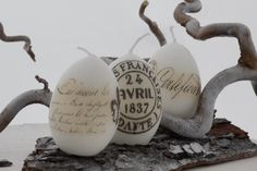 shabby easter eggs candles