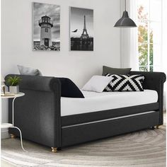 Rossburg Daybed with Trundle Move-Furniture-Benches Trundle Mattress, Twin Daybed With Trundle, Trundle Beds, Wooden Trundle Bed, Queen Daybed, Wooden Bedroom, Bedroom Furniture, Bedroom Decor, Kitchen Furniture