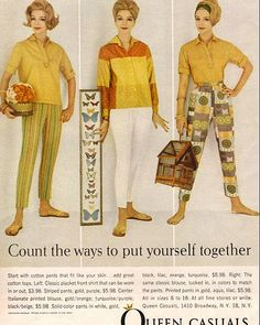 what is old is new again.... 1961 Fashion ad for Queen Casuals