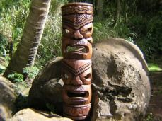 Authentic hand carved tiki mask from monkey pod wood. Thick and heavy this mask is a great conversation piece.