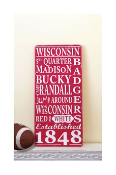 WISCONSIN BADGERS Madison Typography Word Art Wood Sign  - Hand Painted in Red and White